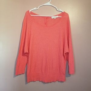 LOFT coral pink light knit blouse button back